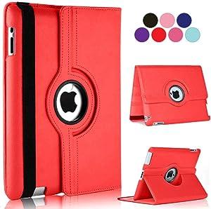 Vultic iPad 2/3/4 Case - 360 Degree Rotating Stand [Auto Sleep/Wake] Folio Leather Smart Cover Case for Apple iPad 4 (Generation), iPad 3 & iPad 2 (Red)