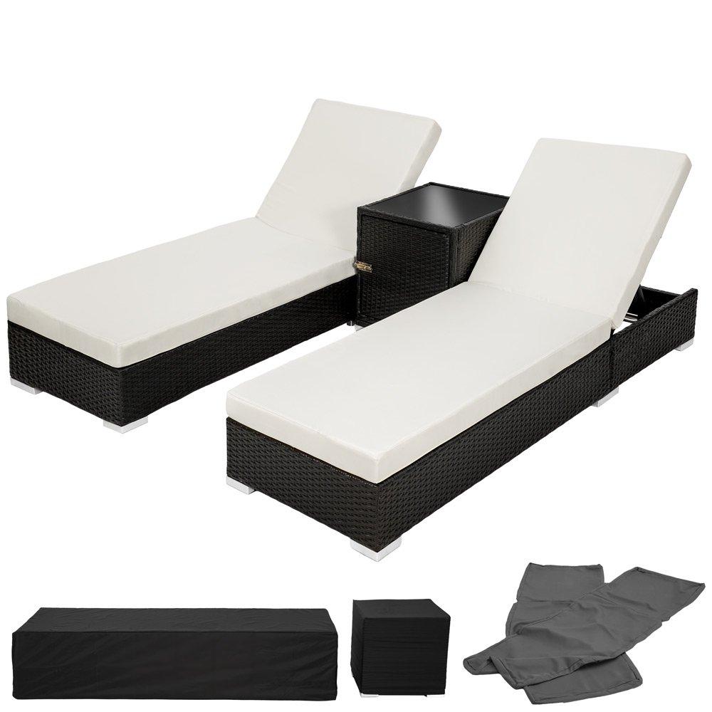 TecTake 2x Aluminium Polyrattan Sonnenliege + Tisch Gartenmöbel Set - schwarz - inkl. 2 Bezugsets + Schutzhülle, Edelstahlschrauben