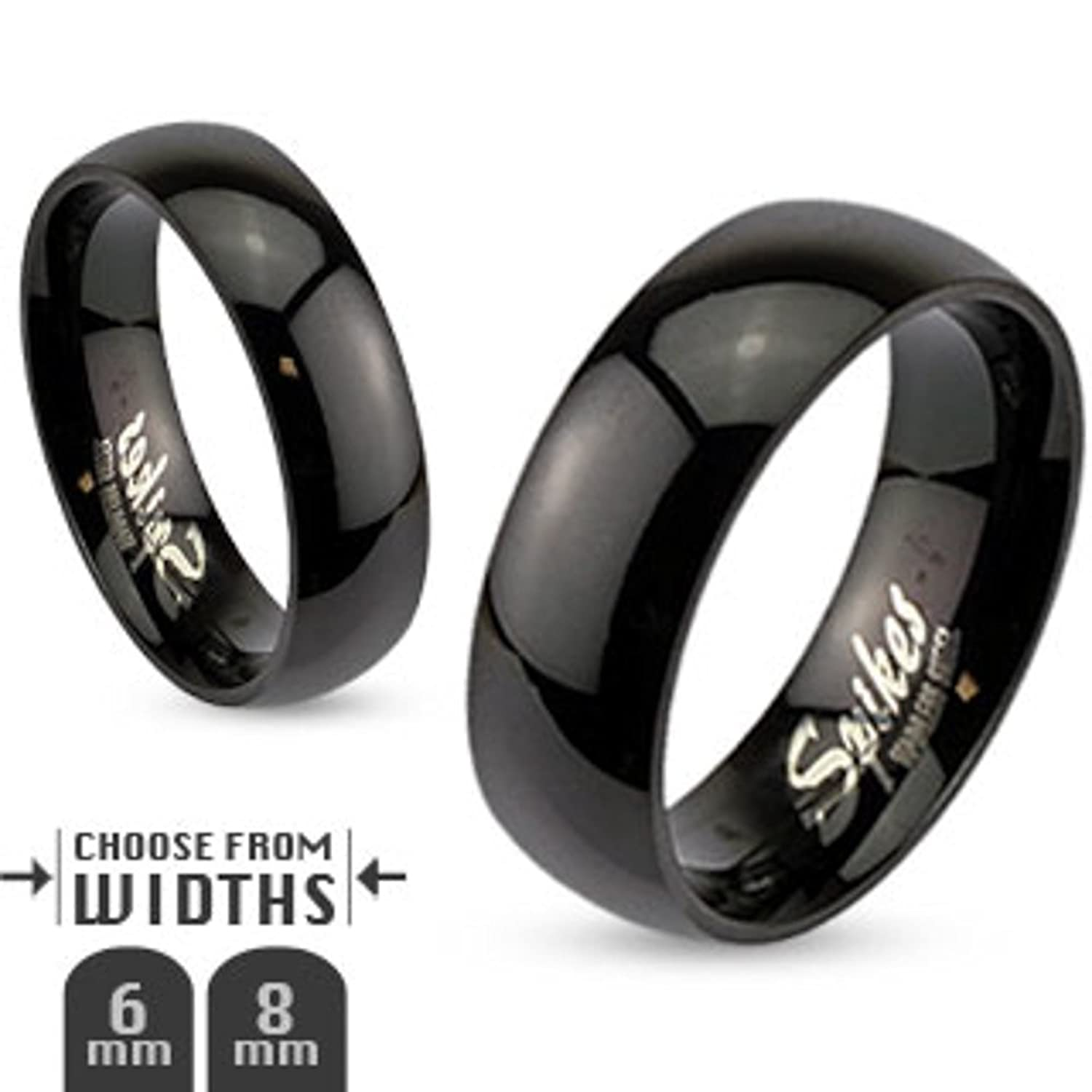 men steel com engagement ring women band black amazon hers size rings wedding s his stainless set classic jewelry dp