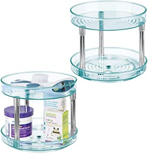 """mDesign 2 Level Spinning Lazy Susan Turntable Food Storage Organizer for Kitchen Cabinets, Pantry, Refrigerator, Countertops - BPA Free & Food Safe - Kids/Toddler - 9"""" Round, 2 Pack - Sea Blue/Chrome"""