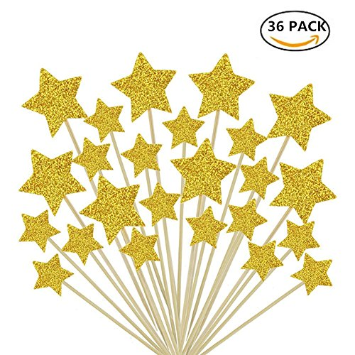 Twinkle Gold Star Cupcake Toppers Sticks Mini Birthday Cake Snack Decorations Bamboo Fruit Cocktail Forks Party Finger Food Picks set of 36pcs - Fairy Toothpicks
