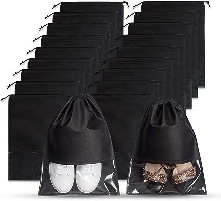 10 Pcs Shoe Bags Portable Travel Shoe Pouch Organizer Non-Woven Dustproof Shoe Storage Drawstring Bags with Transparent Window for Women and Men Large Size, Grey