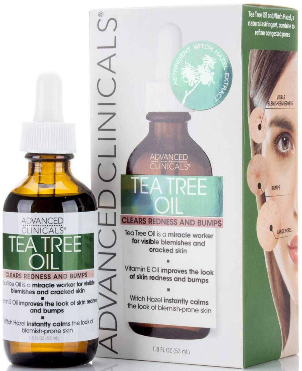 ADVANCED CLINICALS Tree Oil for Acne, Bumps, Blemishes, and Redness 1.8 oz.