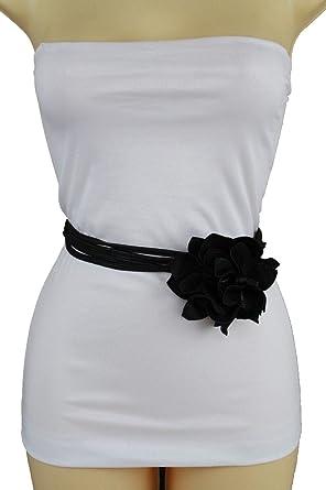 Women Dress Wrap Around Tie Belt Hip High Waist Red Flower Fabric Charm S M L