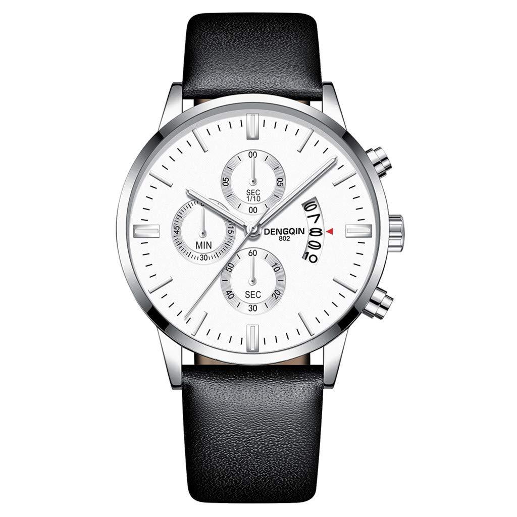 Staron  Luxury Men's Quartz Sport Military Stainless Steel Dial Wrist Watch - Top Leather Watch Band - 43mm Chronograph Date Watch - Battery Quartz Movement (E)