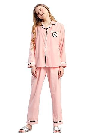 f92b0f709475 Womens Summer Cotton Long Sleeve V-Neck Shirt Pajamas Sleepwear Soft PJ  Sets at Amazon Women s Clothing store