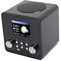 "ahiya Radio Internet Mini Stereo Smart Speaker Weather Forecast MP3 USB Port Multi Language Sleep Timer Time Date Display Global Local Station Music Receiver 2.4"" LCD Screen Headphone Socket Black"