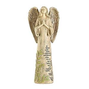"Topadorn Garden Statuary Outdoor Praying Angel Resin Figurines,Collectible Sculptures,14"" H"
