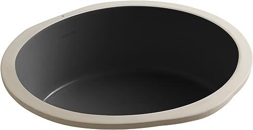 KOHLER K-2883-7 Verticyl Round Undercounter Bathroom Sink, Black Black