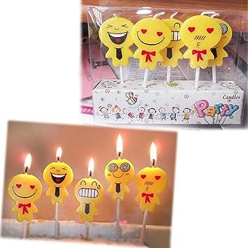 Rameng Bougie Anniversaire 5pcs Emoji Mignon Celebration Bougies Pour Gâteau Danniversaire