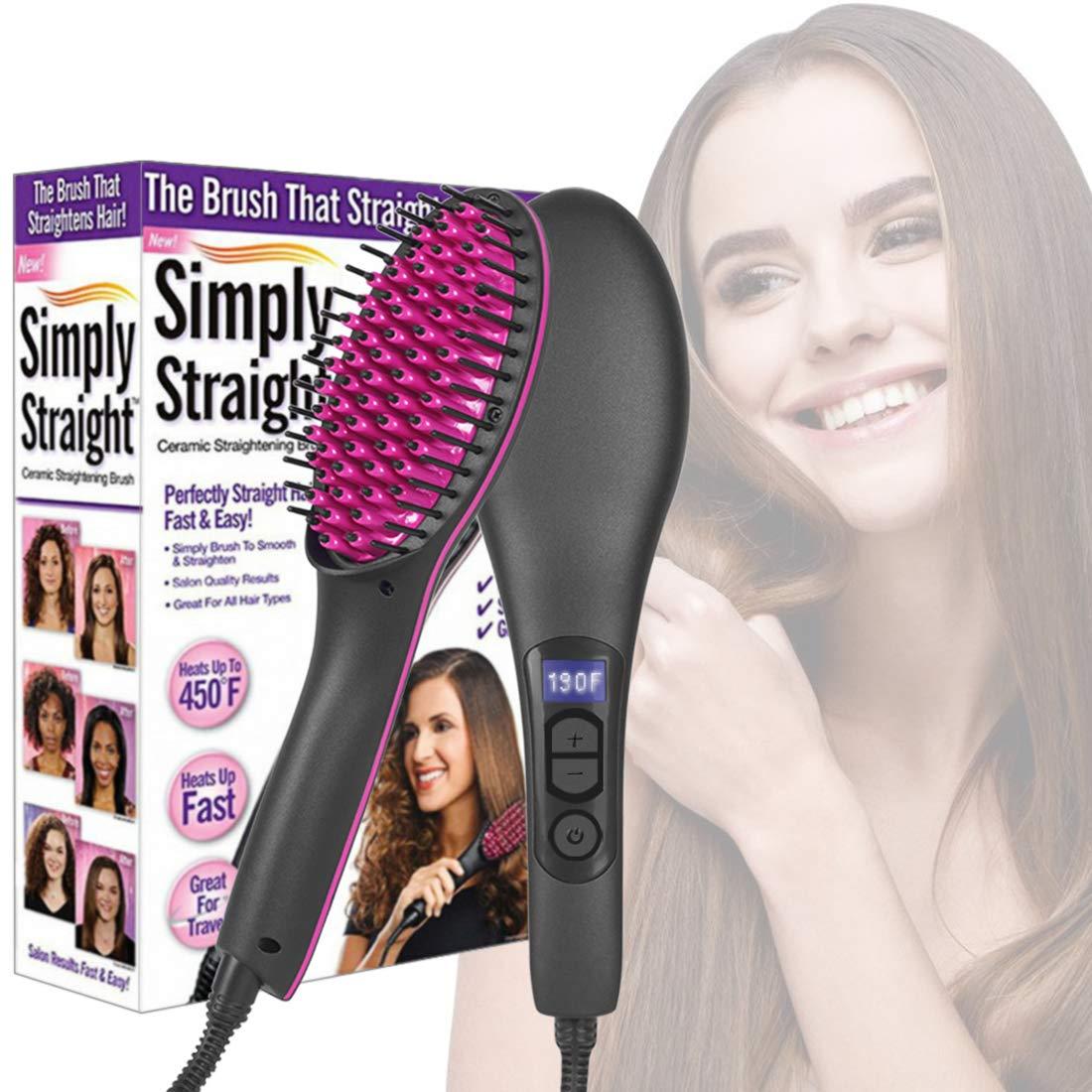 Women Hair Straightener Brush   Electric Ceramic Anti-Scald Fast Heating Hot Comb   Portable Ionic Frizz-Free Hair Styling Tools   Travel Hair Straightening Brush (Black)