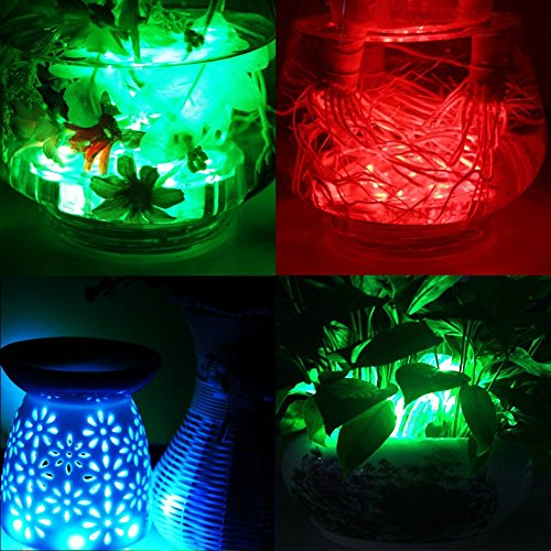 Submersible LED Lights, LUXJET Waterproof Pond Light RGB Color Changing Remote Controlled, Battery Operated for Vase,Aquarium,Fish Tank,Table Centerpiece,Wedding, Party Event Decor Lighting, Pack of 2
