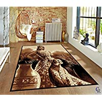 """Champion Rugs Modern Oriental Leopard African Theme Woman Queen Area Rug (5' 3"""" X 7' 5"""")"""