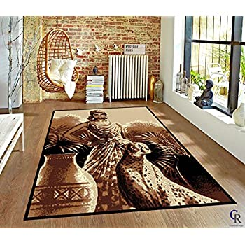 Amazon Com Lady And Leopard African Theme Area Rug 5 3