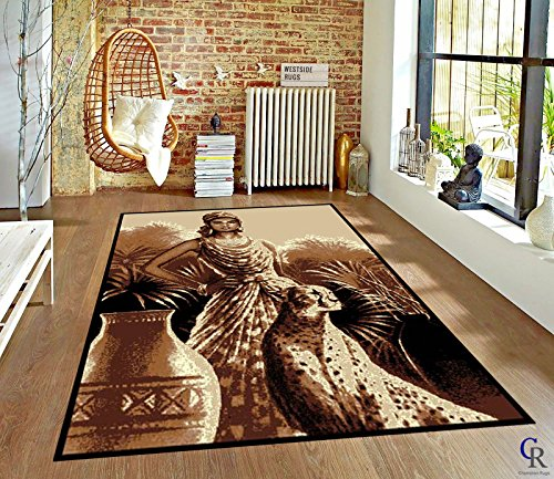 (Lady and Leopard African Theme Area Rug (5' 3