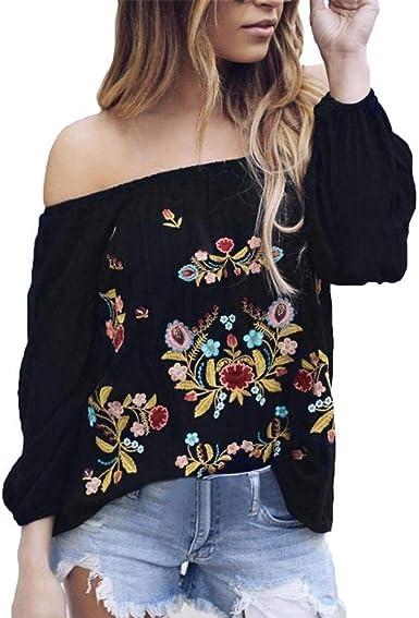 Targogo Ropa para Damas Tops Camisas Blusas Sexy Fuera del Hombro Floral Bordado Basicas Gasa Mujer Ropa Moda Sexy Tops 2018 Otoño 36 38: Amazon.es: Ropa y accesorios