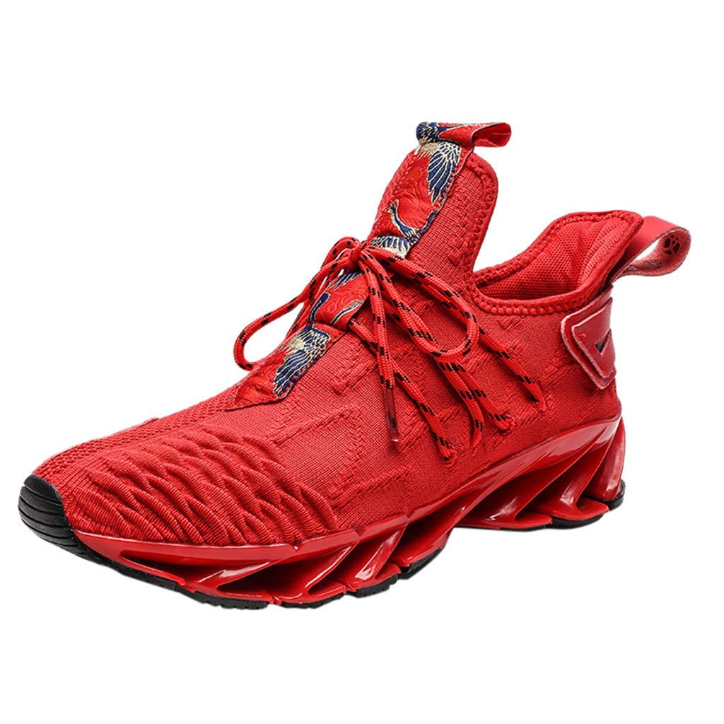 Men Running Shoes Casual Lightweight Breathable Slip On Walking Sneakers (US:11, Red) by Suoxo Men Shoes
