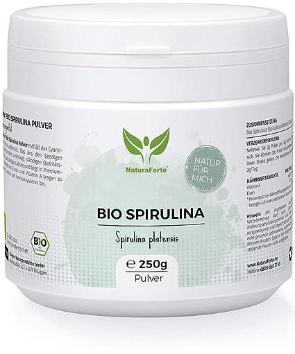 NaturaForte Espirulina Powder 250 g, puro, vegano, sin aditivos, alimentos crudos,