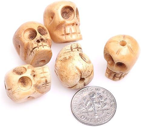 Amazon Com Gem Inside 14x17mm Big Hole Yellow Carved Bone Skull Beads For Jewelry Making Bulk 10 Pcs Arts Crafts Sewing