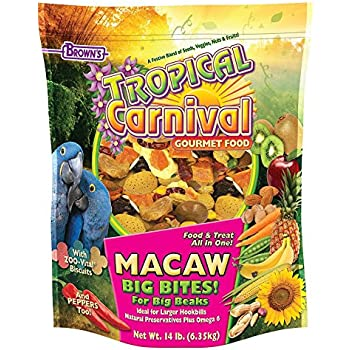 F.M. Brown's Tropical Carnival Gourmet Macaw Food Big Bites for Big Beaks, Vitamin-Nutrient Fortified Daily Diet with Probiotics for Digestive Health, 14lb