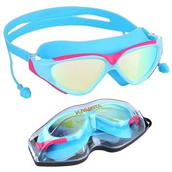 Gafas de natación, gafas de natación kamota no fuga de la anti niebla UV Protección truathlon gafas de natación con protección caso para hombres ...