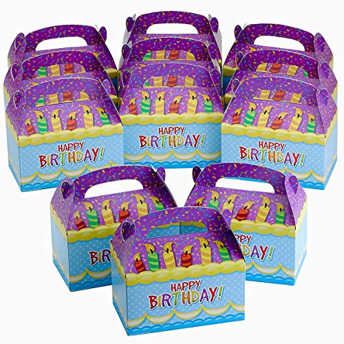 Kicko Happy Birthday Treat Boxes - 6.25 Inch Birthday Candle with Confetti's Favor Box - Colorful Party Container - Assemble It Yourself Party Favor Box (Pack of 12) ()
