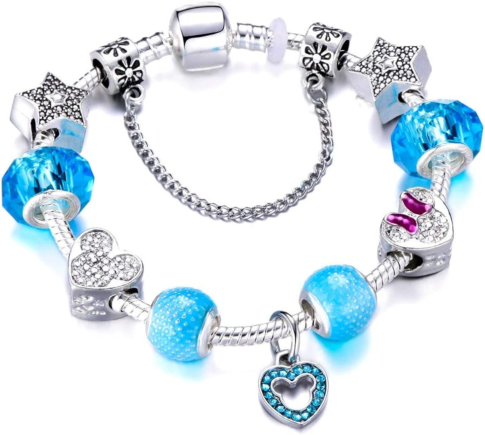 Set of 6 Authentic Disney Mickey Mouse Minnie Mouse charm for European Bracelets