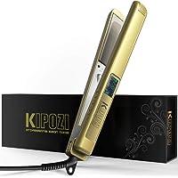 Planchas del Pelo Profesional KIPOZI, con Pantalla Digital LCD, Plancha Alisadora de Titanio, Alisador Anti Encrespado, Doble Voltaje (Oro)