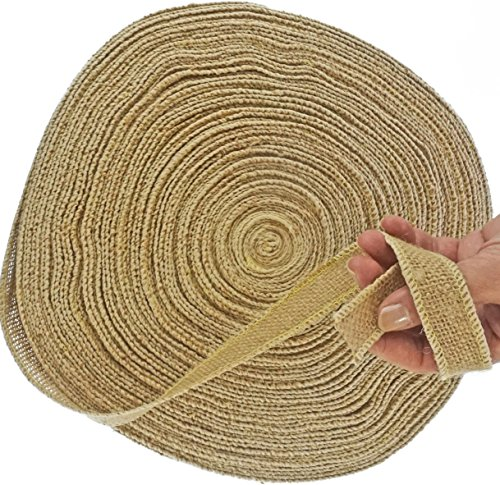 Burlap Ribbon by the Roll. Huge 50 Yards Jute Spool by Drency. 1 Inch