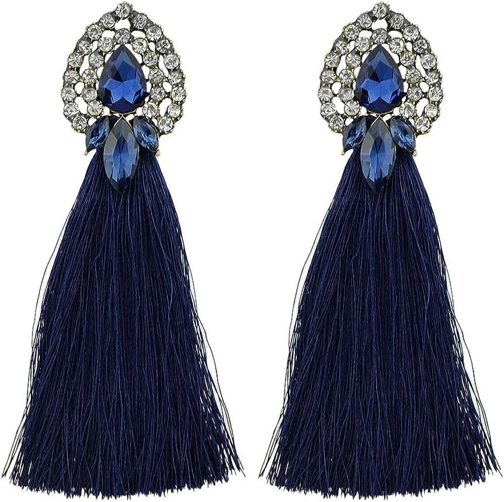 Feelontop® Borla colorida con aretes de diamantes de imitación largos Pendientes de botón Diseño con estuche