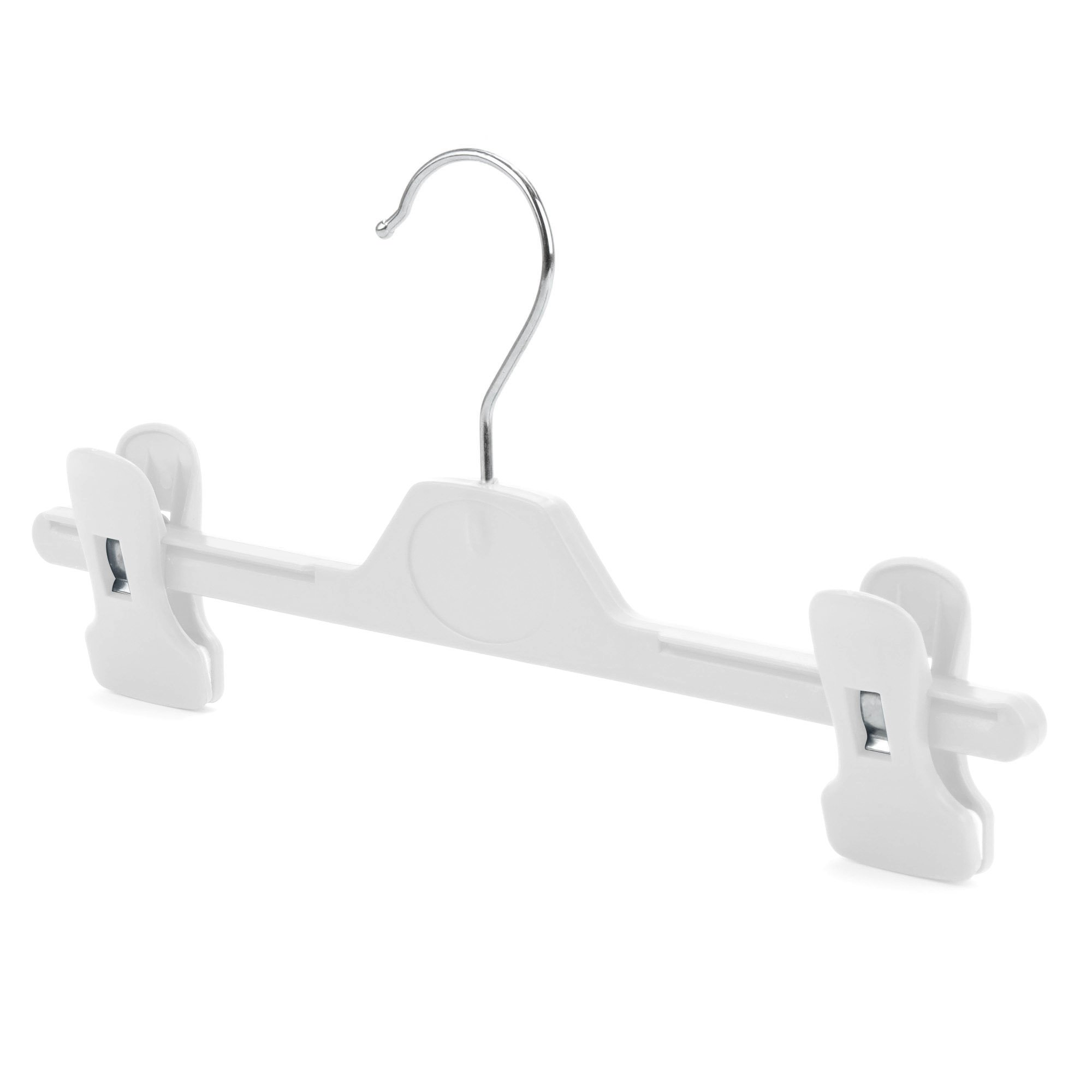 """HANGERWORLD Small Plastic 11"""" Grip Coat Hangers with Clip for Baby and Toddler Clothes, White, Pack of 10"""