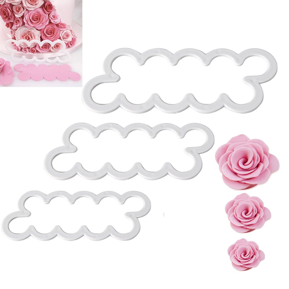 Seacan 3D Rose Petal Flower Cake Cutter Fondant Icing Tool Sugarcraft Decorating Mould