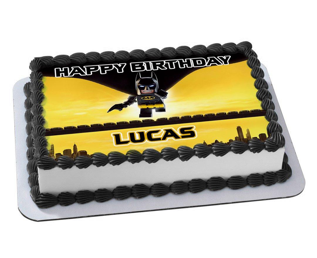 Lego Batman Quarter Sheet Edible Photo Birthday Cake Topper Personalized 1 4 Amazon Grocery Gourmet Food