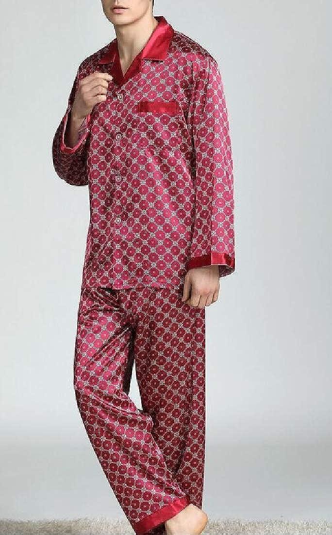 Joe Wenko Men Satin Sleepwear Long Sleeve Print Cozy Lounge Pajama Set