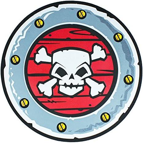Schaumstoff Piraten Schild mit Totenkopf - Grau Rot 33 cm - Spielzeug Waffe für Kinder Zum Kostüm Ritter Wikinger