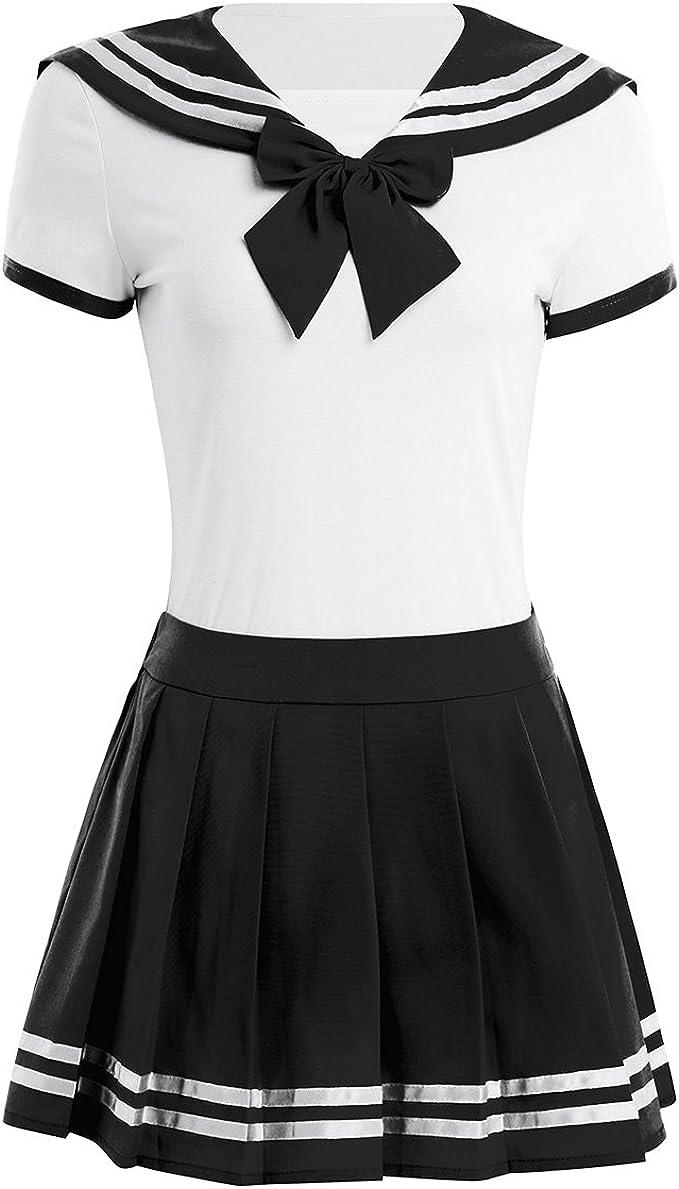FEESHOW Disfraz de Colegiala Chica Cosplay Mujer Escuela Uniforme ...
