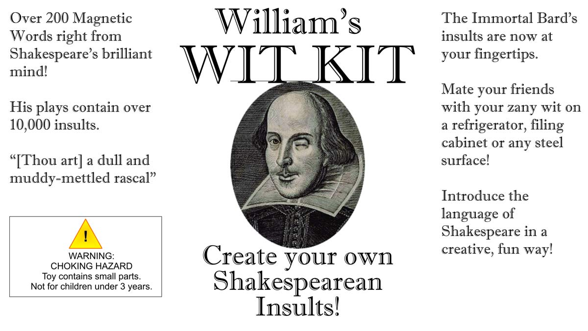 William's Wit Kit – Shakespeare Word Magnets – Witticisms for your Refrigerator.