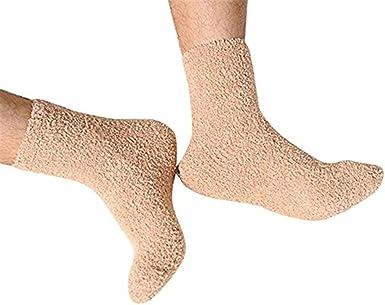 Solid Color Men Warm Thicken Coral Fleece Socks Fluffy Sleep Bed Socks SMART