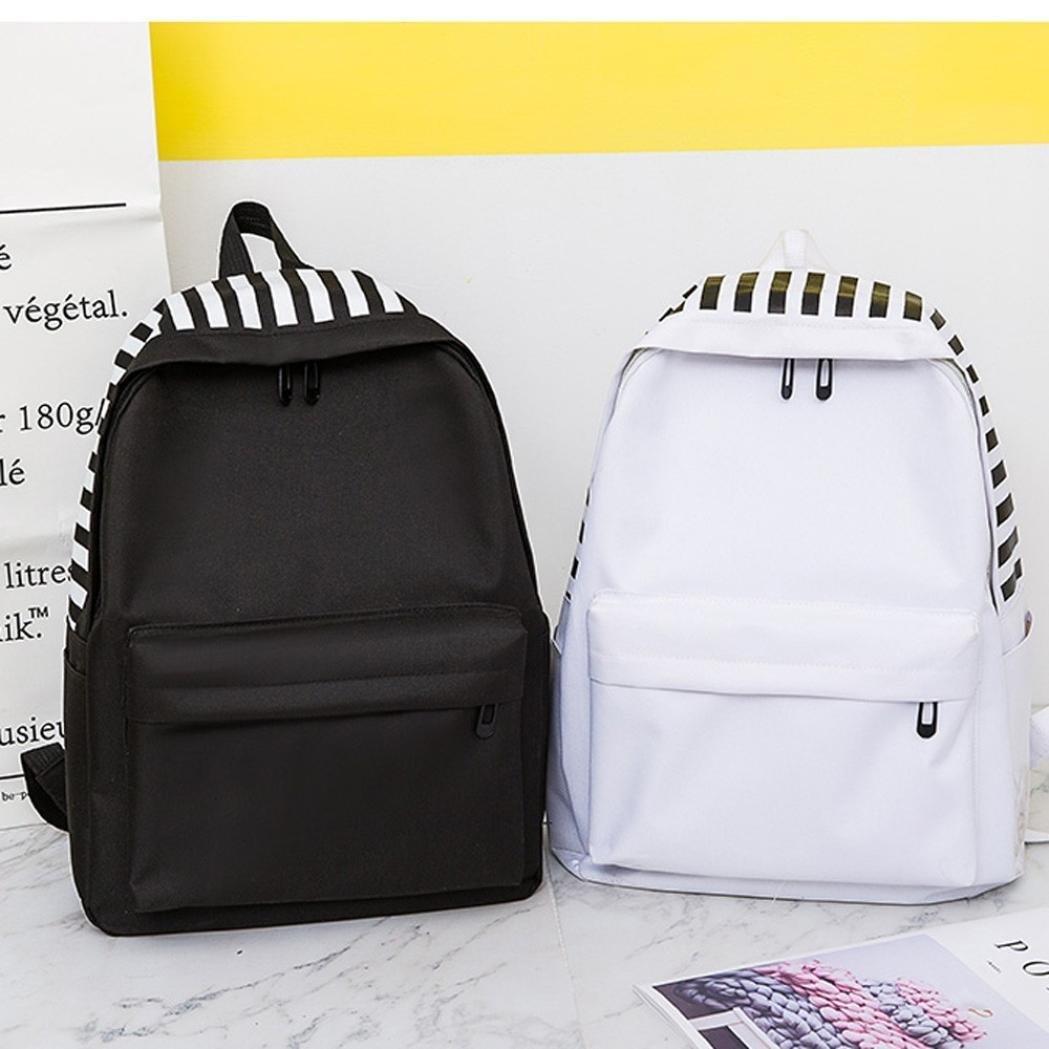 Unisex Canvas Letter Backpack Outdoor Travel Backpack Student Bag Shoulder Bag YJYdada Backpack White