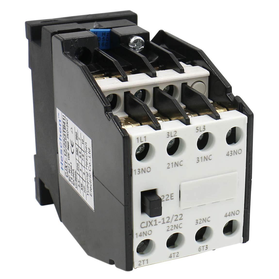 Heschen Contactor AC CJX1-12/22 220V 50/60Hz Bobina 3P 3 polos 2NO+2NC 380V 20A 5.5KW