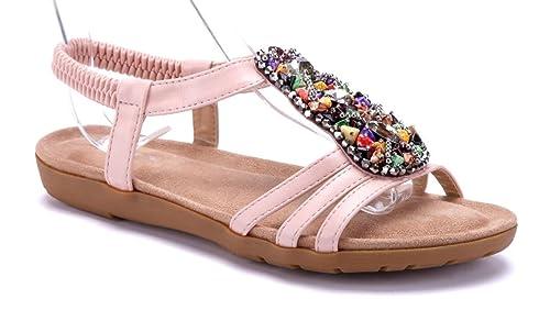 59b91b26a6e125 Schuhtempel24 Damen Schuhe Sandalen Sandaletten rosa flach Ziersteine