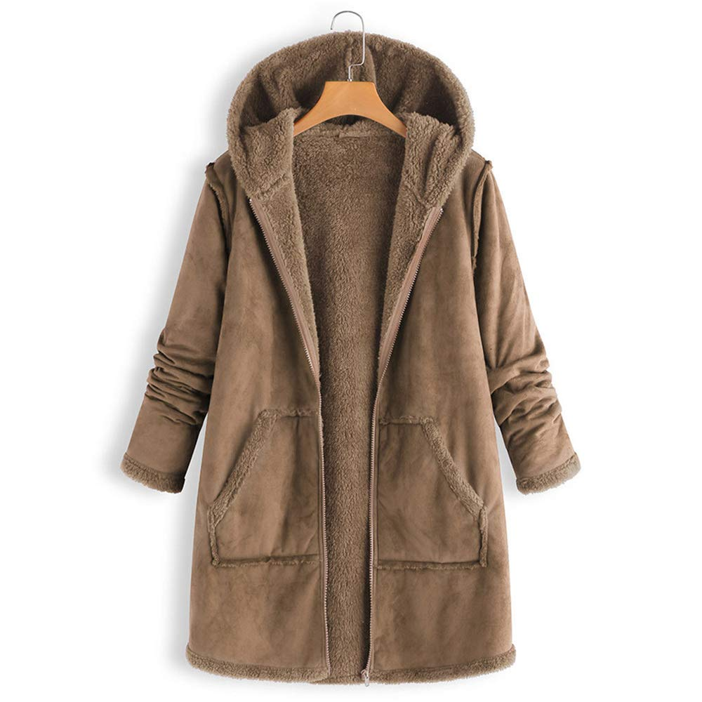 Quelife Women's Fashion Pocket Winter Plush Hooded Long Sleeve Warm Coat Jacket(Khaki,M)