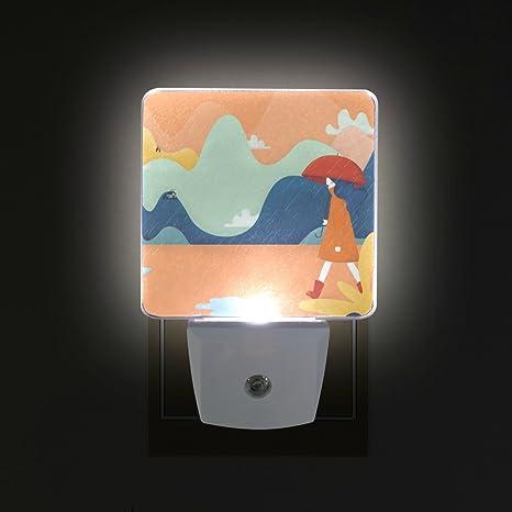 ALIREA Autumn Rains Painting Plug in LED Night Light Auto Sensor Dusk to Dawn Decorative Night