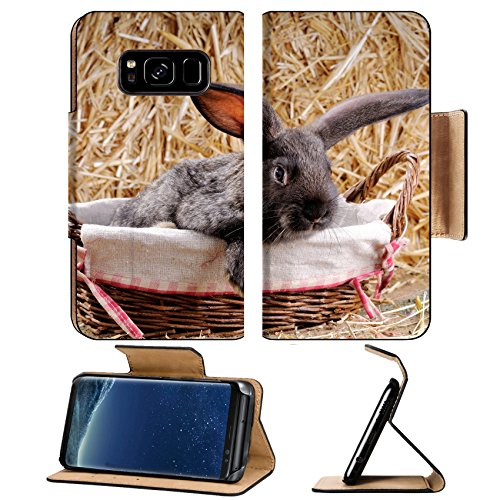 MSD Premium Samsung Galaxy S8 Flip Pu Leather Wallet Case young rabbit in a wicker basket Image ID 24589461