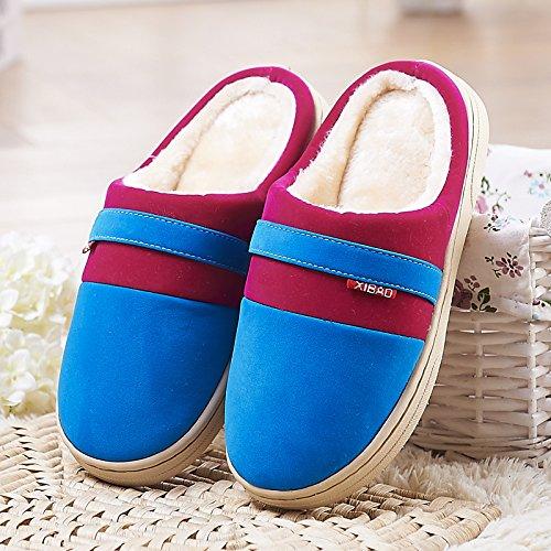 Fankou pavimenti in legno cotone pantofole femmina spesso anti-slittamento inverno caldo coppie scarpe indoor home soggiorno home pantofole ,39/40, blu scuro