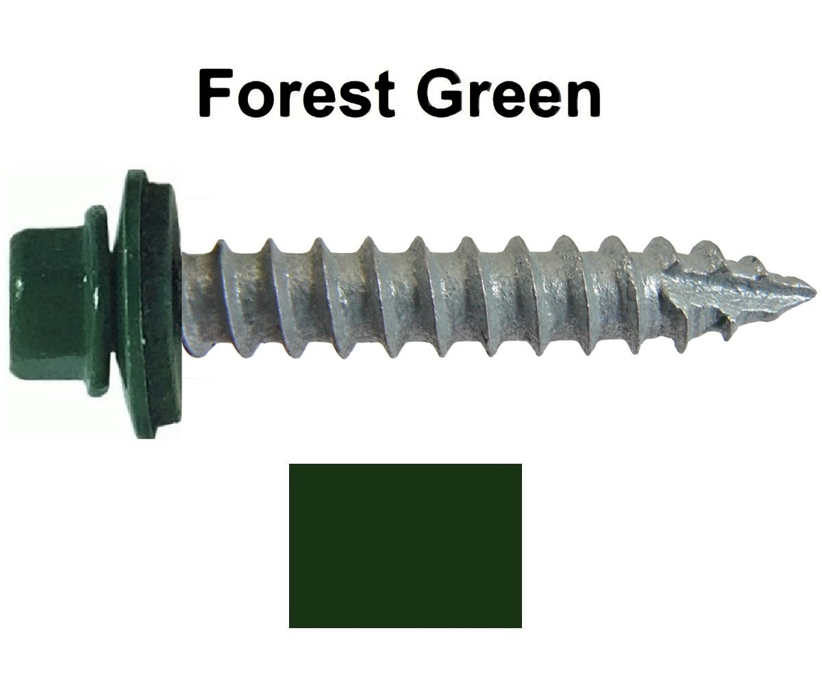 "#14 Metal ROOFING SCREWS: (250) Screws x 1-1/2"" IVY GREEN Hex Washer Head Sheet Metal Roof Screw. Self starting/tapping~EPDM washer. Colored head~for corrugated roofing"