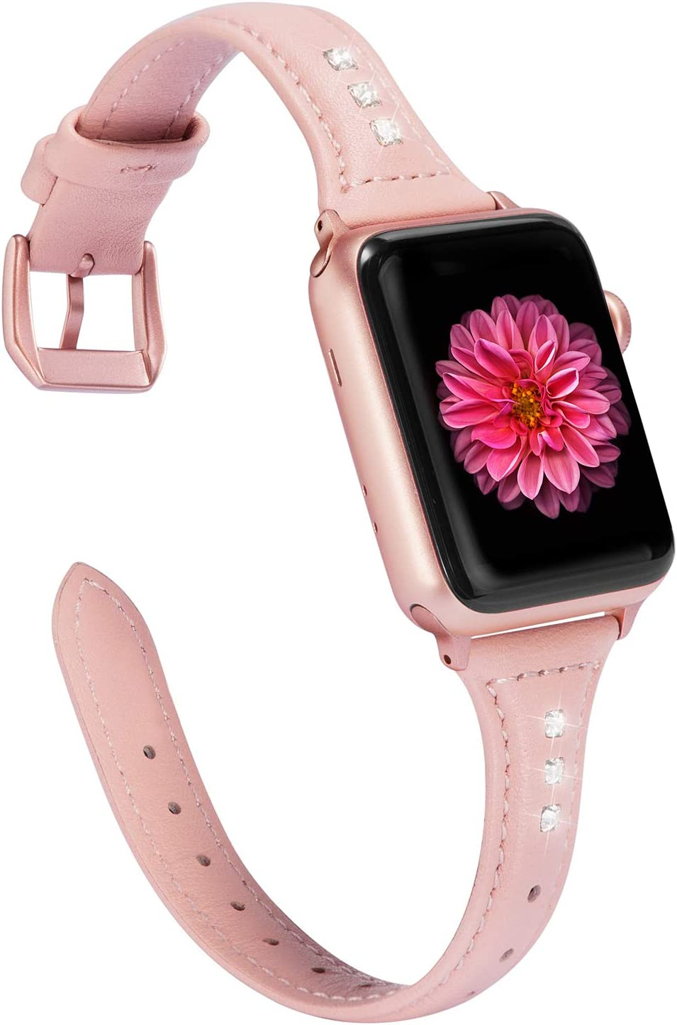 Wearlizer Rose Pink Thin Leather Compatible with Apple Watch Band 42mm 44mm iWatch SE Womens Rhinestone Strap Beauty Slim Wristband Replacement Dressy Bracelet (Rose Gold Clasp) Series 4 3 2 1