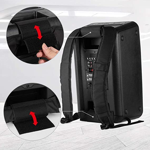 DJ Amplified Loudspeakers with LED Lights EARISE DT21 Portable PA System Bluetooth Speaker with Wireless Microphone Rechargeable Karaoke Machine Shoulder Strap Recording FM Guitar Input AUX//USB