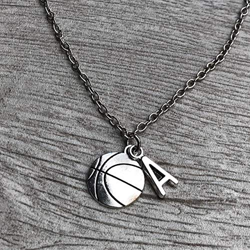 Necklace Basketball Charm (Personalized Basketball Necklace with Letter Charm, Girls Basketball Jewelry, Perfect Gift for Girl Basketball Players)