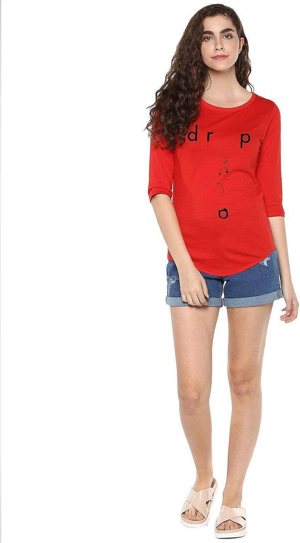 Womens 34U Drop Printed Red Color Tshirts